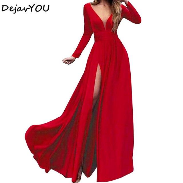 2018 Sexy Deep V Neck Backless Maxi Dress High Splits Dress Red Satin Floor  Length Open Back Night Club Evening Party Dress 886c903c64e5