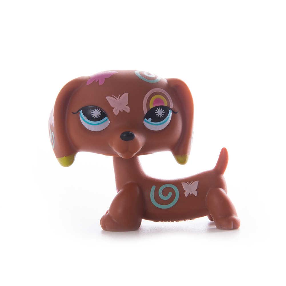 Animais raros lps pet shop brinquedo dachshund cão marrom 556 original figura collie cocker spaniel great dane criança presentes