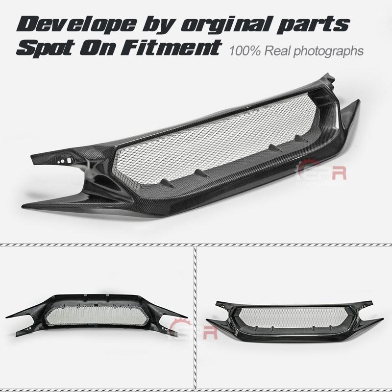 Grilles de finition brillante de gril de Fiber de gril avant de Fiber de carbone de Style JS pour Honda Civic 2017 + Type R FK8 (également adapté FC1 FK7)