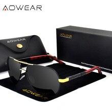 AOWEAR, Зеркальные Солнцезащитные очки для мужчин, поляризационные, фирменный дизайн, авиация, солнцезащитные очки, очки для вождения, очки для мужчин/женщин, Gafas