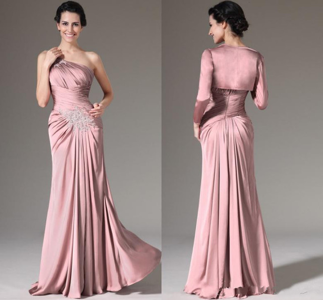 Dusty Pink Mother Of The Bride Dresses One Shoulder Pleated Chiffon Floor Length Long Sleeves