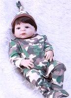 Полный силиконовые возрождается куклы Baby Boy 22 55 см реалистичные Новорожденные с камуфляжная одежда Bebe живые возрождается bonecas