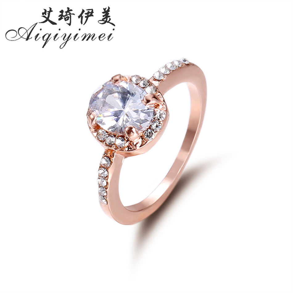 Aiqiyimei 2017 Luxury Women Wedding Rings with Prong setting Austrian AAA Cubic Zircon New Fashion Ladies Bridal Finger Ring