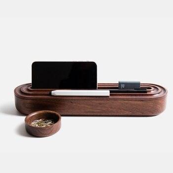 Exquisite handmade black walnut wooden office storage box Retro wooden phone holder storage box