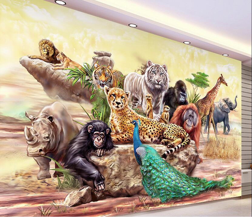 Custom Photo 3d Wallpaper Non-woven Mural The Zoo Animals Decoration Painting 3d Wall Murals Wallpaper For Living Room