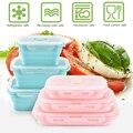 3 шт./компл. складной силиконовый Ланч-бокс пищевой контейнер для хранения фруктов портативная коробка для бенто безопасная кухня микроволн...