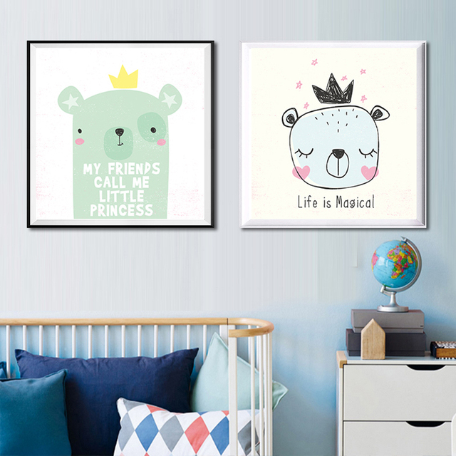 modern cartoon canvas painting art print poster nursery wall picture kids baby room decor kawaii animals