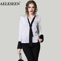 European New Blouses Women 2017 High Street Fashion Autumn Winter Bow Contrast Color Full Sleeve Patchwork White Trim Blouse