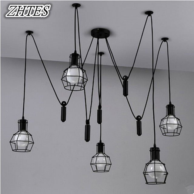 Vintage Lift Small Cages Chandelier Modern Restaurant Iron Lights Bar Bedroom Lamp 6 Lamps 8 10