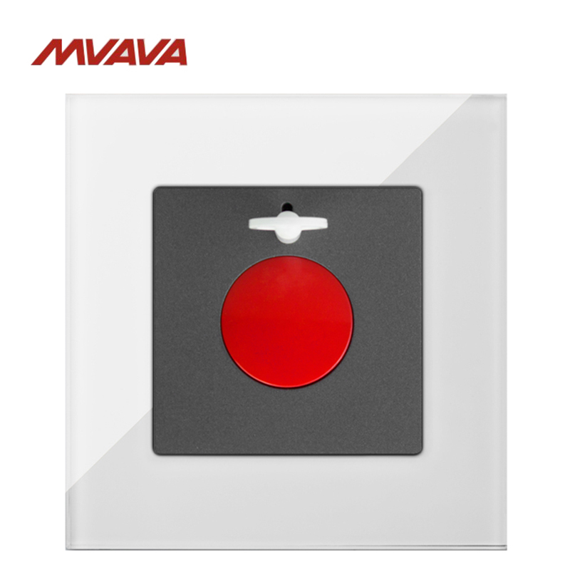 MVAVA SOS Switch Emergency Danger Bottom Fire  Alarm Wall Decorative Push Bottom Luxury White Crystal Glass Panel Free Shipping  alarm button fire emergency call luxury switch panel alarm with key brushed silver stainless steel sos panel