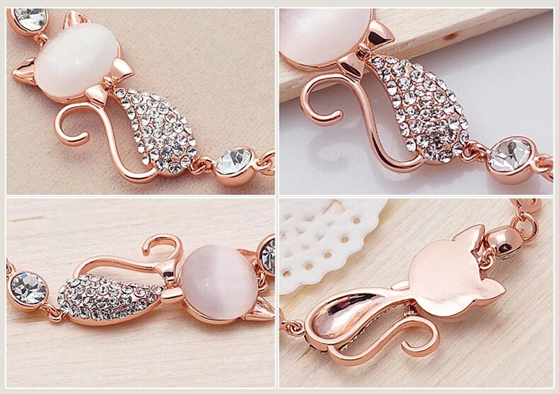 HTB1JdtsSFXXXXbZXpXXq6xXFXXXw - Rose Gold Alloy Lovely Cat Bracelets for Women Femme Children Girl Gift Jewelry Charms Crystal Opals Rhinestone Bangle Chain