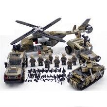 Compatível LegoINGlys WW2 militar Blocos de Construção arma helicoptor Landing tanque de combate do exército das forças Especiais figuras tijolos brinquedos
