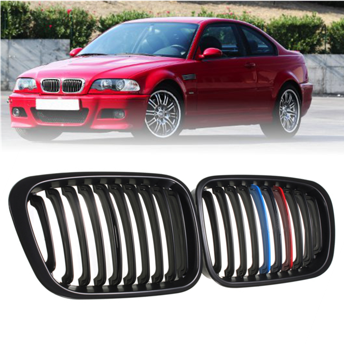 NEW Pair Matte Black M-Color/Gloss Black Car Front Kidney Grill Grilles For BMW E46 3 Series 4 Door Sedan 1998 1999 2000 2001 sugeryy 1 pair car style matte black 3 color front center kidney racing grilles for bmw 3 series e90 e91 2009 2011 car grille