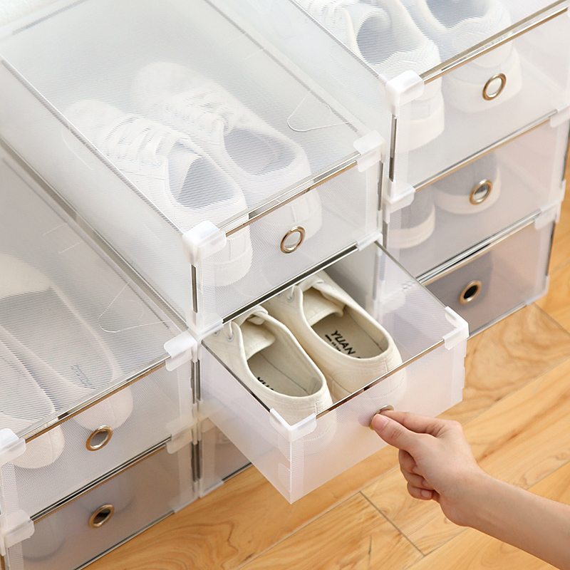 Image 4 - 5PCS Eco Friendly Shoe Storage Box Case Transparent Plastic   Rectangle PP  Organizer Thickened drawer-in Storage Boxes & Bins from Home & Garden