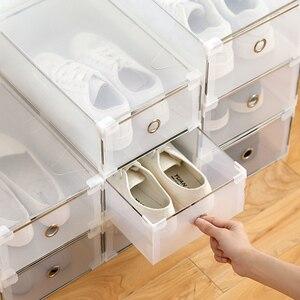 Image 2 - 5PCS Transparent shoe box dustproof storage box can be superimposed combination shoe cabinet Clamshell men and women shoe box