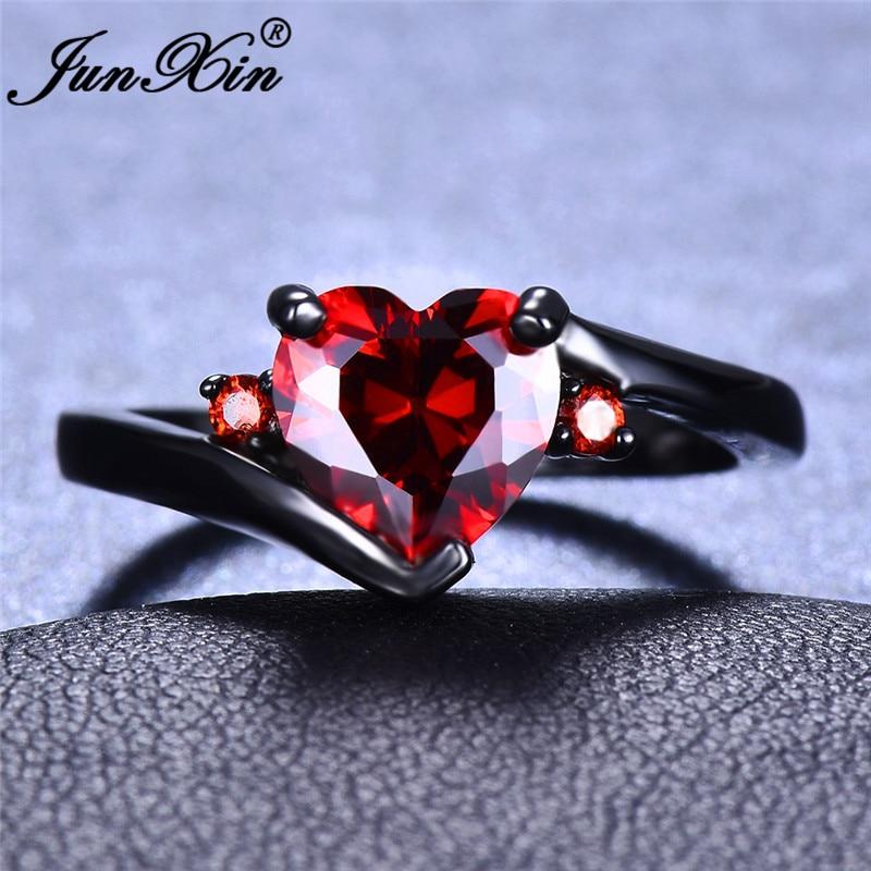 JUNXIN Rainbow Zircon Heart Rings For Women White Gold/Black Gold Filled Purple Blue White Blue Fire Opal Ring Female Wedding CZ