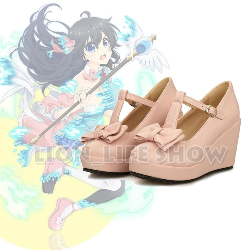 Netoge no Yome Tamaki Ako Pink Bow Tie Wedge Heel Cosplay Leather Strap Shoes