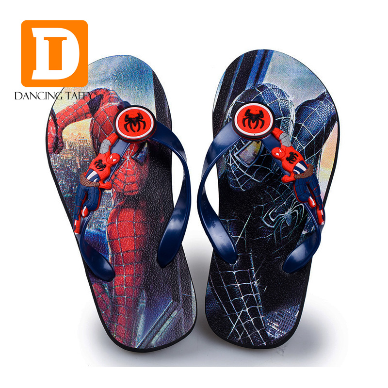 2019 Cartoon Children Slippers Spider Man Boys Slippers Captain America Beach Summer Kids Slippers Indoor Shoes Home Sandals slip-on shoe