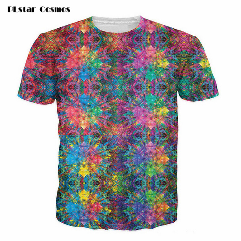 PLstar Cosmos Flashbacks T-Shirt colorful psychedelic 3d print t shirt Summer Style hipster Street tees Women/Men short sleeves