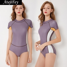 купить Women's Conservative Swimwear One Piece Swimsuit Short Sleeve Girl  Back Zipper Bikini Beach Bath Wear Clothes дешево