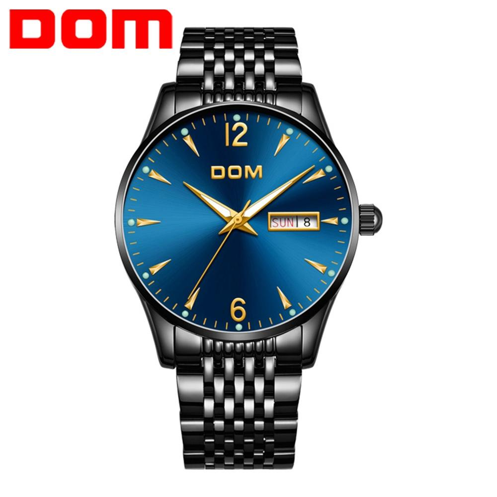DOM Luxury Brand Mens Watch Waterproof Sport Watches Men Black Steel Quartz Calendar Watch Clock Relogios Masculinos M-11BK-2M89