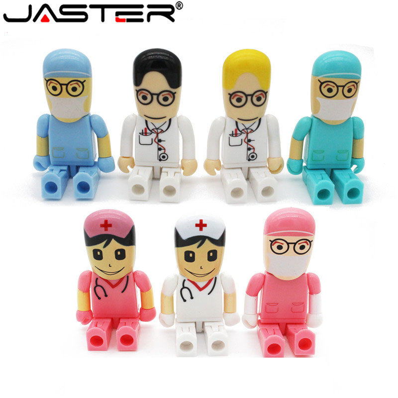JASTER New Arrival Cartoon Robot Medical Pen Drive Doctor Usb Flash Drive 4GB 8GB 16GB 32GB 64GB Usb Memory Stick Nurse Pendrive