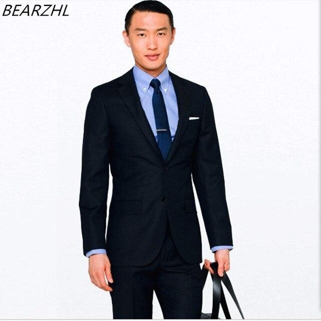 45ad61a015 US $135.0  Su misura abiti da uomo smoking blu scuro sposo indossare slim  fit su ordine del vestito vestito vestito dalla spiaggia di alta qualità in  ...