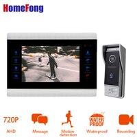 7 дюймов AHD 720 P Видео дверной телефон домофон система проводной дверной звонок видео дверной звонок Домофон/дверной звонок камера Mp3/Mp4 плеер