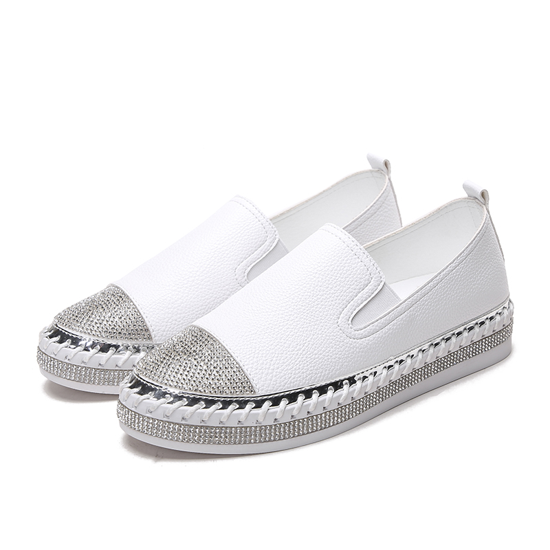 Pregnant Women Shoes Thick soled Rhinestone White Whoes Women s Flat bottom Casual Loafers Platform Hollow