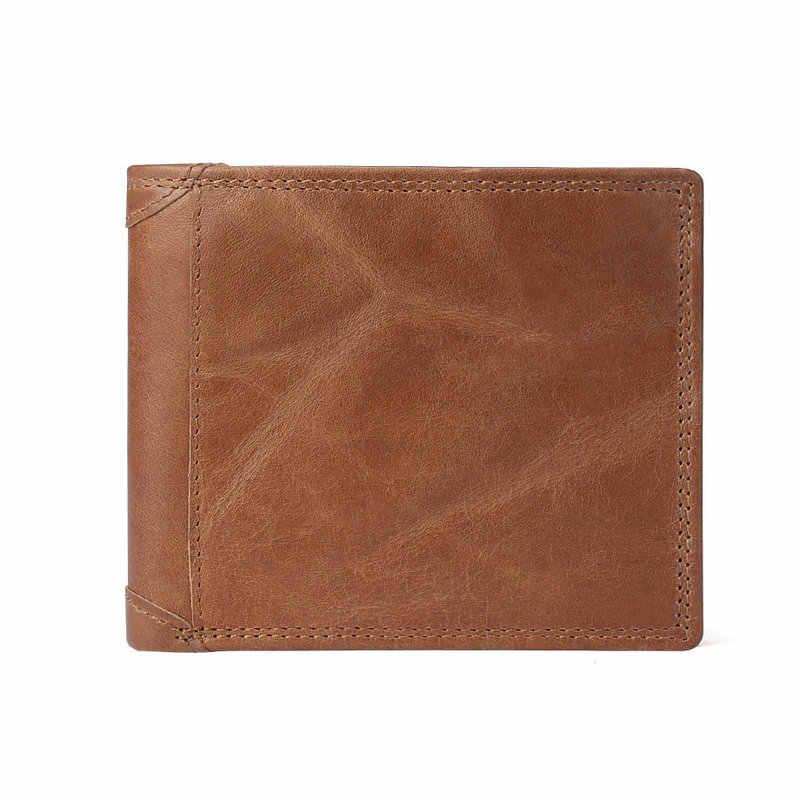 f716ab52c ... GENODERN de cuero de vaca hombres billeteras con bolsillo monedero  Vintage de hombre bolso función marrón
