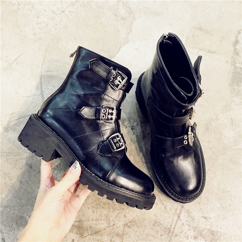 Fashion Buckle Studed Women Ankle Boots Shoes Woman Top Quality Genuine Leather Lace Up Shoes Punk Martin Boots zapatos de mujer hot sale genuine leather shoes women soft comfortable lace up zapatos mujer high quality fashion oxfords pigskin women s shoes