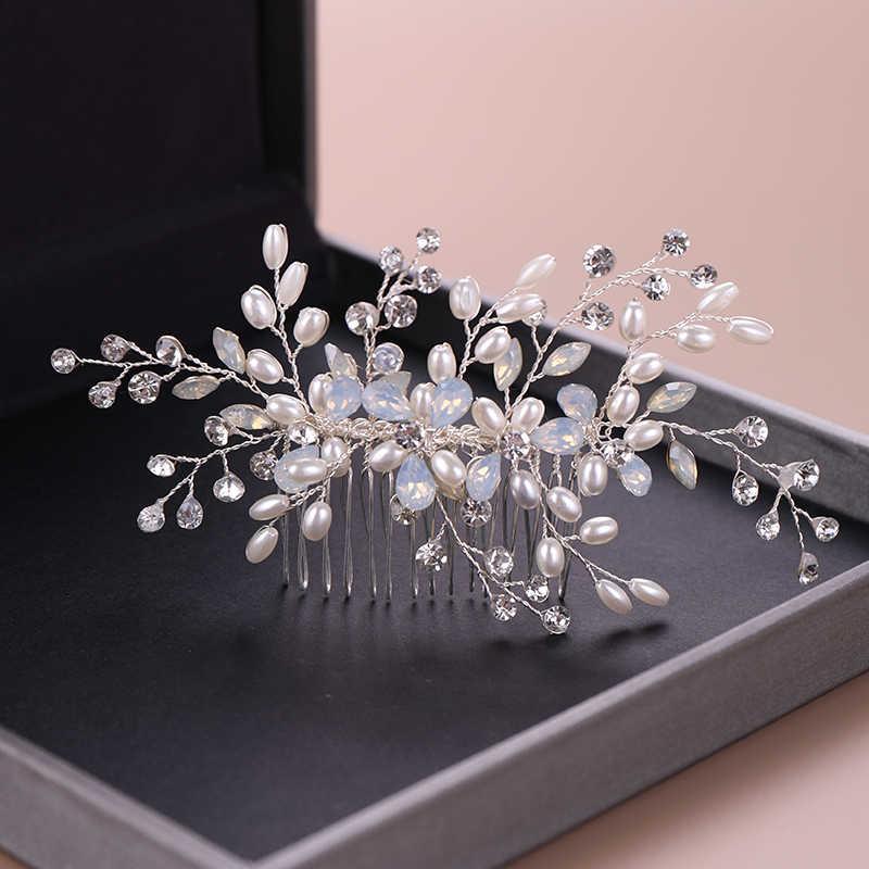 Perak Sisir Rambut Mutiara Berlian Imitasi Wanita Rambut Perhiasan Buatan Tangan Kristal Jepit Rambut Klip Bunga Pernikahan Fashion Rambut Aksesoris