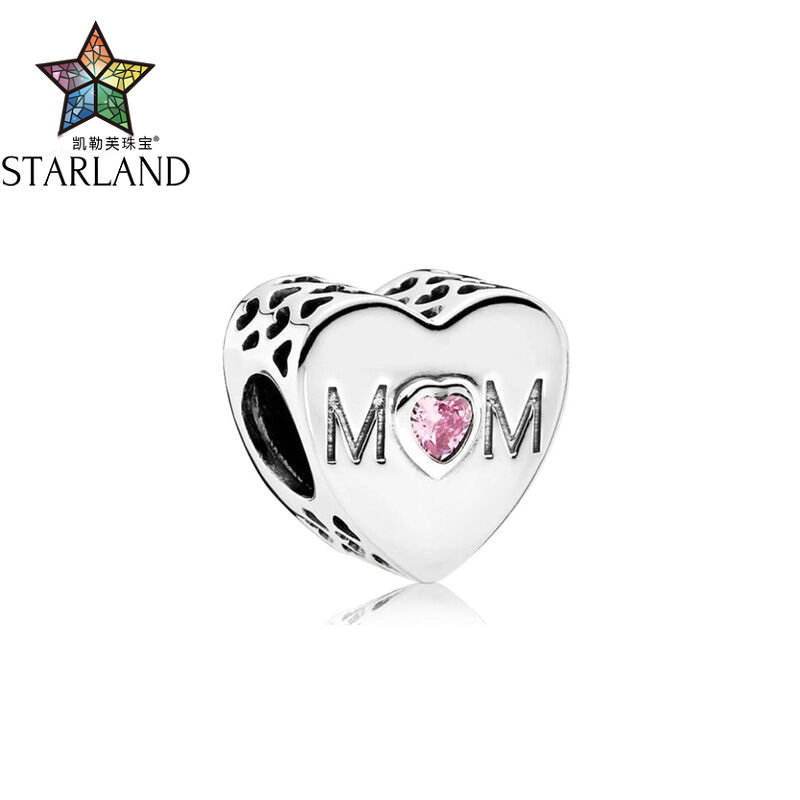 Starland 100% 925 Sterling Silver Dazzling Clear Charm Beads Pink Mothers love hollowed out texture DIY Beads JewelryStarland 100% 925 Sterling Silver Dazzling Clear Charm Beads Pink Mothers love hollowed out texture DIY Beads Jewelry