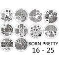 10 шт. Born pretty 16-25 Ногтей Штамп Шаблон Изображения Плиты