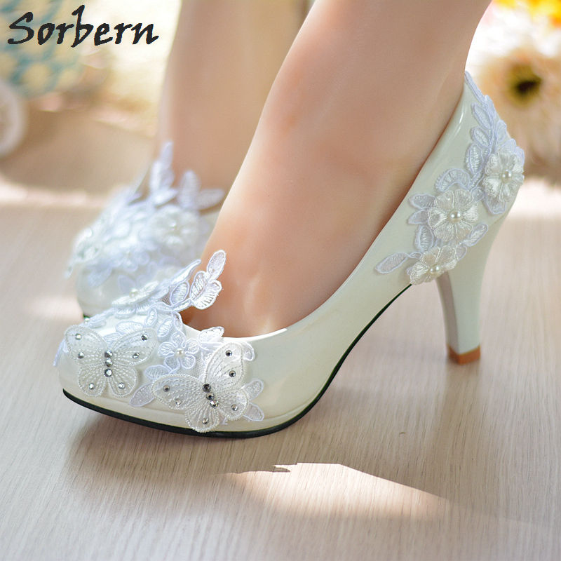 Sorbern Butterfly Beaded Bridal Wedding Shoes Lace Crystal Slip On 4.5/8cm Heels Ladies Party Pumps Real Shoes Sexy Ladies Shoes women wedding silver shoes crystal sequins decor pumps lace slip on bridal super high heel round toe sexy ladies party shoes