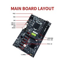 B250 BTC 6PCI-E Desktop Computer Motherboard With 7 Card Board PCIE 1X to 16x PCI-E Slots Mainboard Support GTX1050TI 1060TI