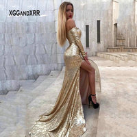 New Arrival Sweetheart Off Shoulder Long Sleeves Mermaid Prom Dress 2019 Formal Party Gown Sequin Golden robe de soiree