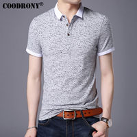 COODRONY Small Turn Down Collar Top Homme Casual Print Tee Short Sleeve T Shirt Men Brand