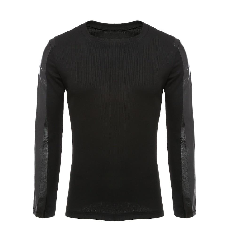 2018 Hohe Qualität Marke Männer Pullover Pu Leder Baumwolle Patchwork Pullover Männlichen Casual Langarm Puls Größe Jumper Mann Kleidung