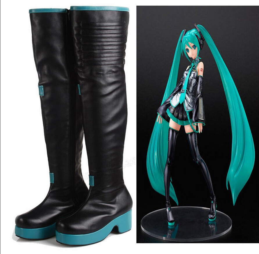 Handmade Vocaloid Hatsune Miku Custom Made Cosplay Boots Costume Shoes