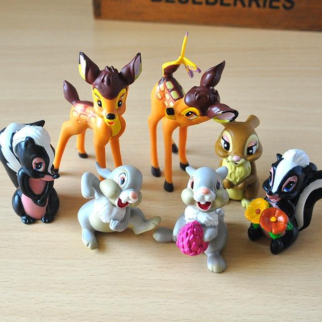 7pcs/lot Movie Classic Animals PVC Model Toys Deer Dolls  Action Figures Toys Juguetes Brinquedos for Kids