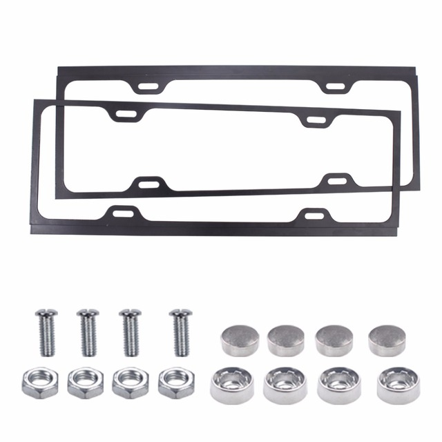 1pair Universal Stainless Steel Metal License Plate Frame Holder Cover Kit With S For Car Auto