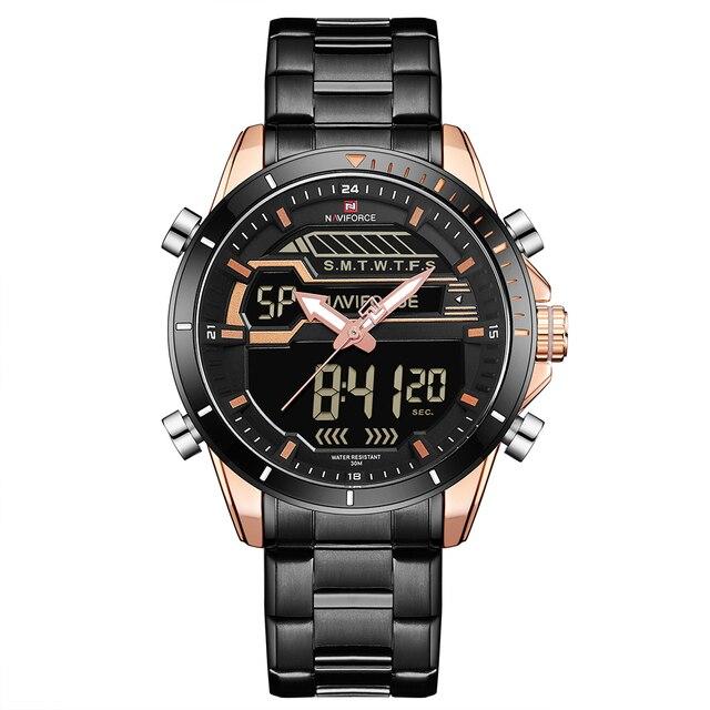 NAVIFORCE 9133 Quartz Watch Men Dual Time Analog Digital Watches Mens 3ATM  Waterproof Stainless Steel Strap