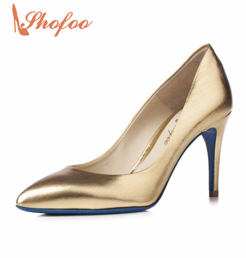 ФОТО Shofoo New Woman Shoes Gold&Purple Saffiano Leather Pointed Toe High Heels 10cm Pumps Slip-On Fashion Shoes Women for Evening
