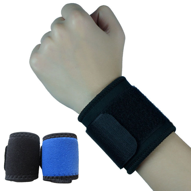Wrist Brace Wrap Bandage Support Gym Strap Adjustable Sports Wristband Blue Black P15