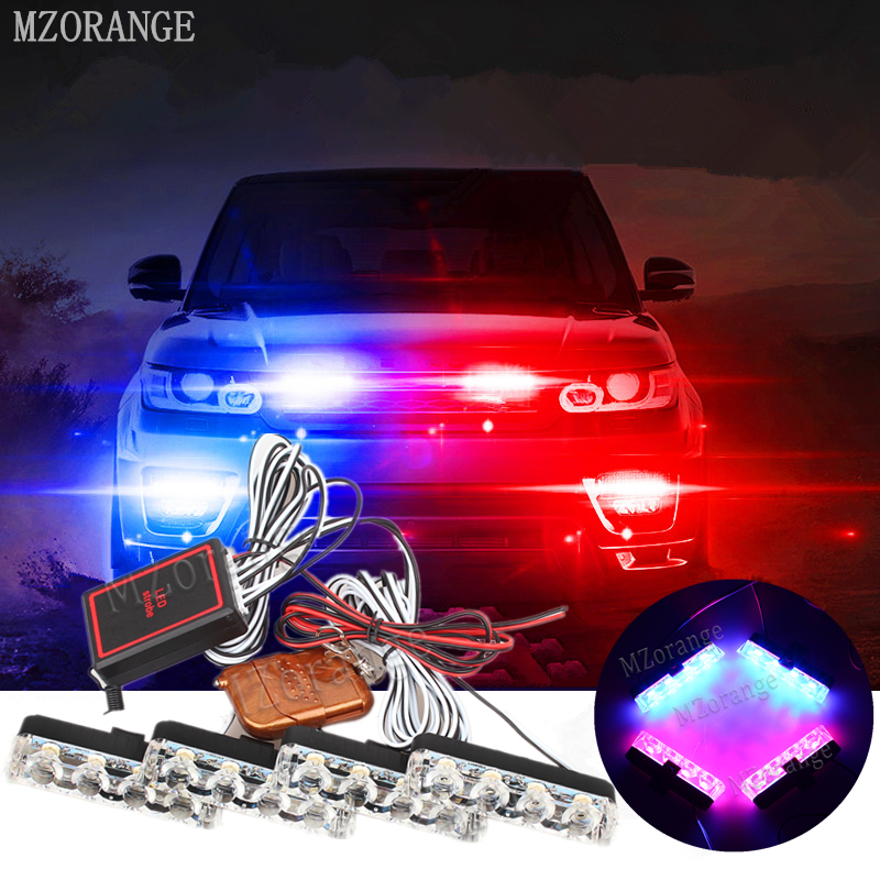 MZORANGE 4x4 LED Wireless Remote 12V Automobiles Car Strobe Warning light Flashing DRL Ambulance Emergency Police day lights 4in1 daytime running light 12v 12w led car emergency strobe lights drl wireless remote control kit car accessories universal