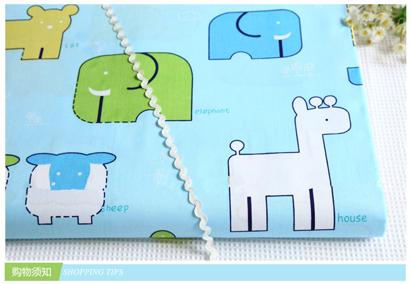 1 meter pure cotton twill bedding fabric with lovely cartton elephant sheep house print, bed sheet bed sack DIY cloth CR-947