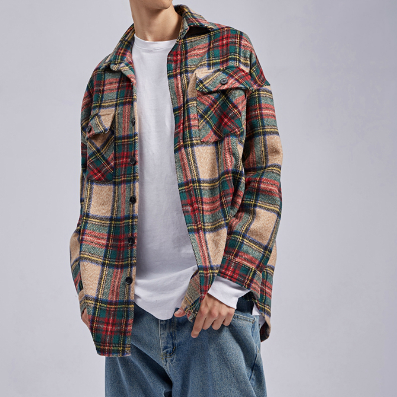 Winter Khaki Plaid Thick Flannel Shirt Patched Pockets Long Sleeve Cropped Workshirt Streetwear 1