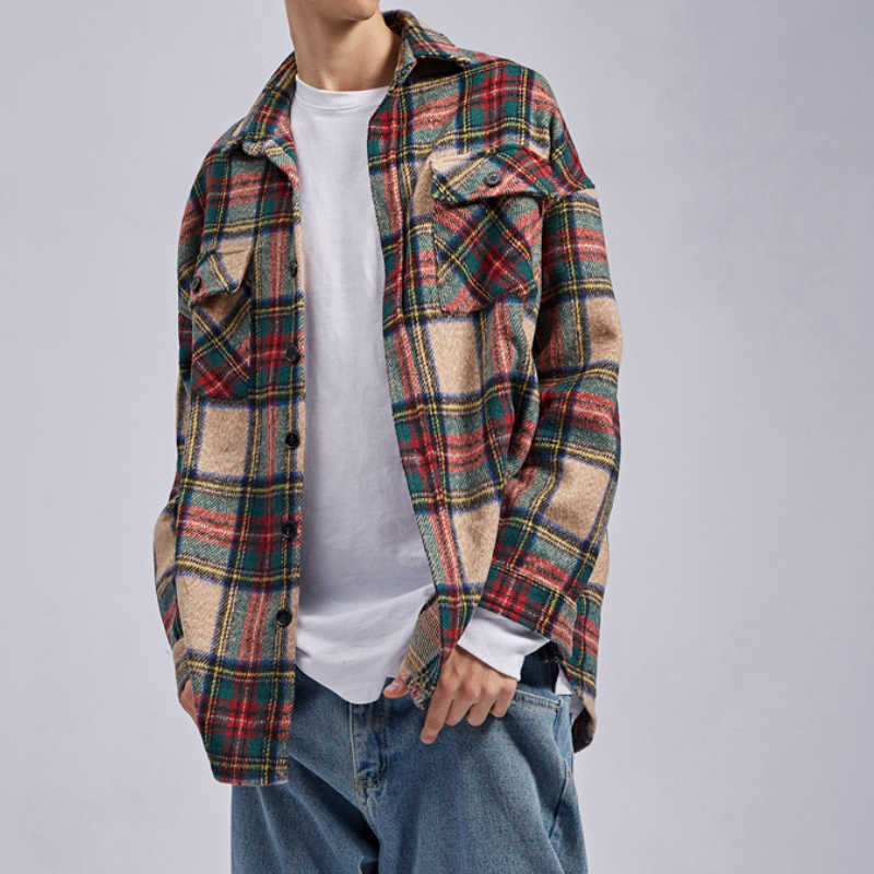 Winter Kaki Plaid Dikke Flanellen Shirt Patched Pockets Lange Mouwen Cropped Workshirt Streetwear
