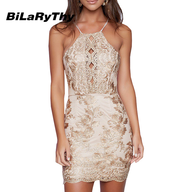 b2057d3c0877 BiLaRyThy Sexy Vintage Women s Bodycon Mini Dress Halter Neck Backless Gold  Lace Embroidery Patchwork Party Dresses